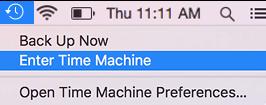 Enter Time Machine Option on Mac
