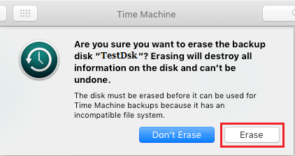 Erase Disk Prompt During Time Machine Setup on Mac