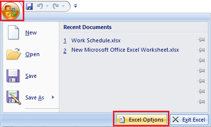 Excel Options button