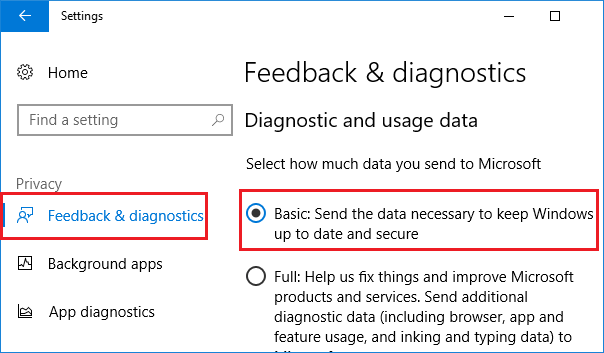 Feedback and diagnostics Settings Screen in Windows 10