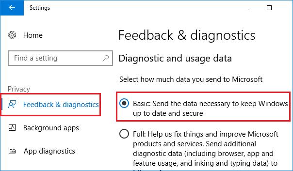 Feedback and diagnostics Settings Screen in Windows 10