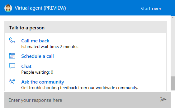 Talk to Person Call and Chat Options in Windows 10