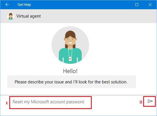Ask Virtual Agent For Help in Windows 10
