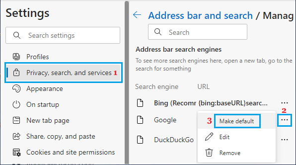 Make Google As Default Search Engine in Microsoft Edge