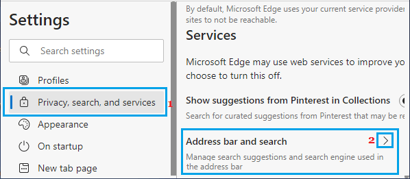 Manage Address Bar and Search Option in Microsoft Edge