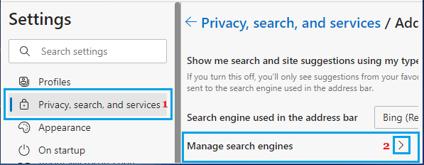 Manage Search Engines Option in Microsoft Edge