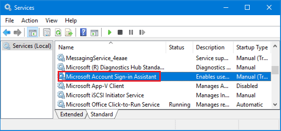 Microsoft Account Sign-in Assistant Service in Windows 10