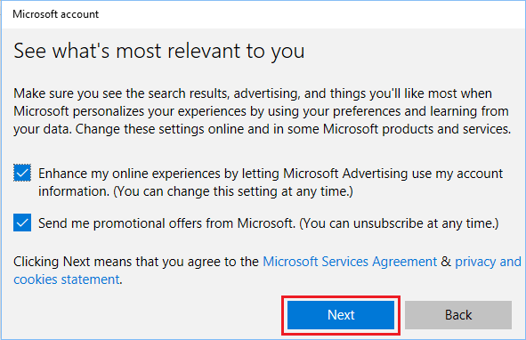 Allow Microsoft to Send Promotional Offers Screen in Windows 10