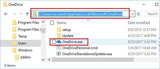 Run OneDrive.exe in Windows 10
