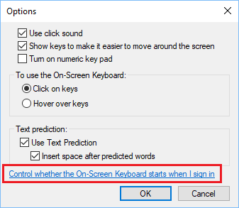 Option to Enable On-Screen Keyboard At Startup in Windows 10
