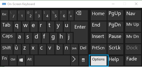 Options Key in On-Screen Keyboard in Windows 10