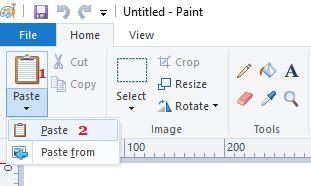 Paste Option in Paint App in Windows 10