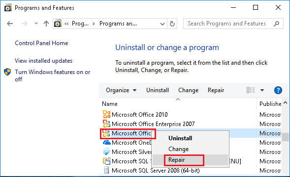 Repair Microsoft Excel Program in Windows 10