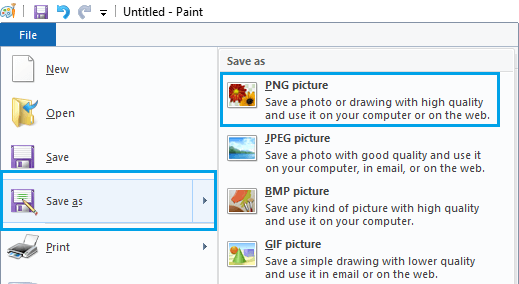 Save File Options in Paint App in Windows 10