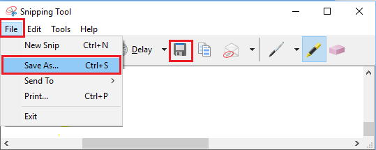Save Screenshot Option in Snipping Tool