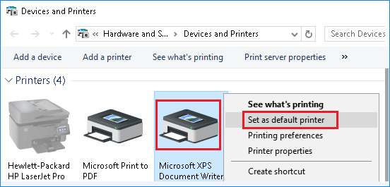 Set Microsoft XPS Document Writer as Default Printer in Windows 10