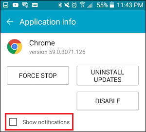 Show Notifications Option on Android Phone