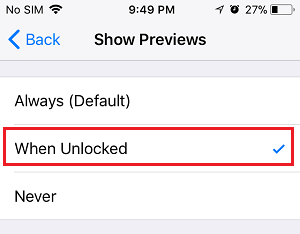 Show Previews When Unlocked Option on iPhone