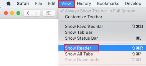 Show Reader Option in Safari Browser on Mac