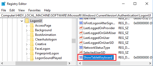 ShowTabletKeyboard Key On Registry Editor Screen in Windows 10