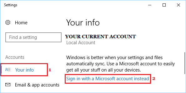 Sign In With Microsoft Account Option in Windows 10