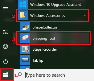 Snipping Tool Application in Windows 10