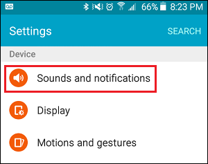 Sounds and Notifications Tab in Settings on Android Phone