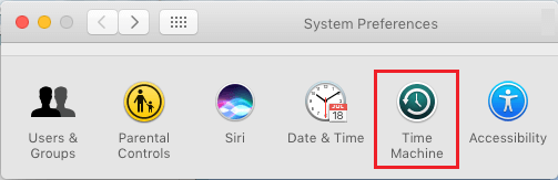 Time Machine Option on System Preferences Screen