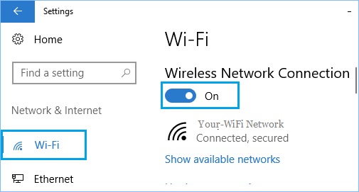 Turn WiFi ON From Settings Screen in Windows 10