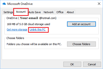 Unlink This PC From OneDrive Option in Windows 10
