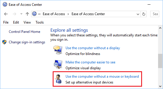 Use Computer Without a Mouse or Keyboard Option in Windows 10