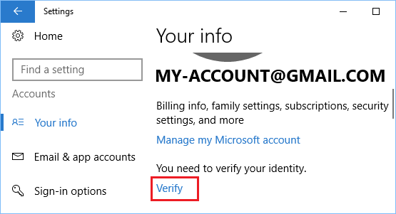 Verify User Account Option in Windows 10