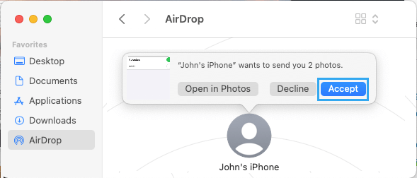 Accept AirDrop on Mac