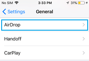 AirDrop Settings Option on iPhone