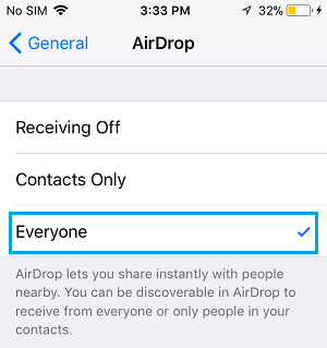 Accept AirDrop From Everyone Option on iPhone