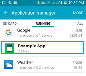 List of Running Apps on Android Phone