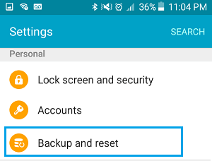Backup & Reset Option on Android Phone Settings Screen