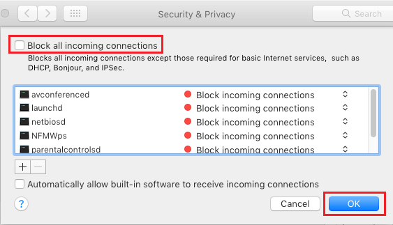 Unblock All Incoming Connections to Mac