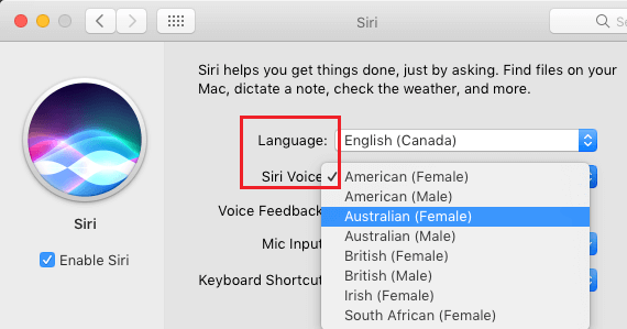 Change Siri Voice and Language on Mac