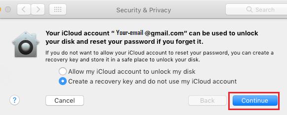 Create Recovery Key to Unlock FileVault on Mac Option
