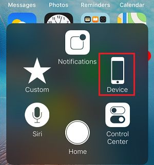 Device Option in iPhone Assistive Touch Menu