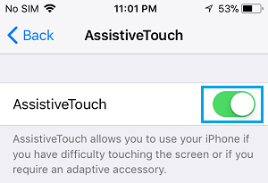 Enable AssistiveTouch Option on iPhone