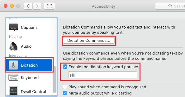 Enable Dictation Keyword Phrase on Mac