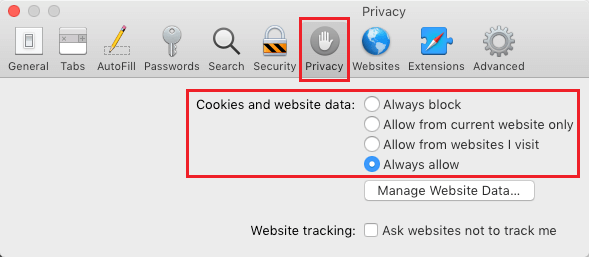Enable or Disable Cookies on Mac Safari Browser