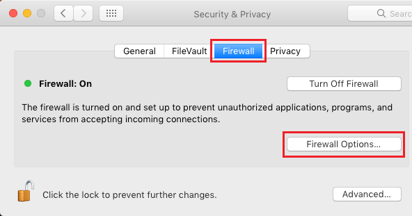Firewall Settings Screen On Mac