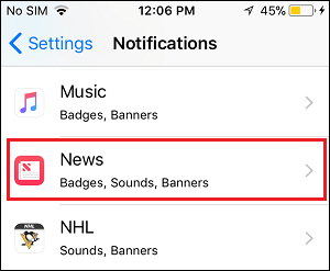 List of Apps in Notifications Settings Screen on iPhone