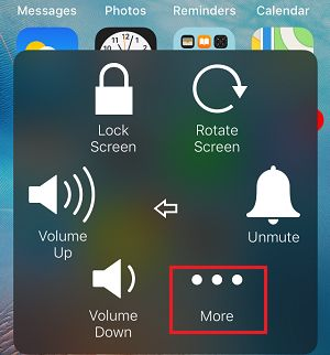 More Option in iPhone Assistive Touch Menu