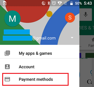 Payment Methods Option in Google Play Store