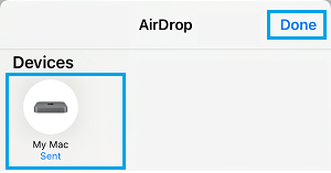 Select AirDrop Recieving Device on iPhone
