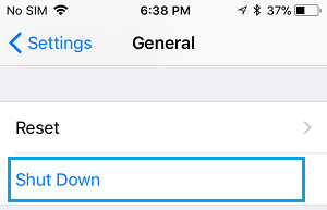 Shut Down Option on iPhone General Settings Screen